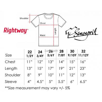 RIGHTWAY KidsUnisexCotton Soft Basic Round Neck T-Shirt RNY3 (GG/DG/RB/P/NK)(22-32)(XS-2XL )(1/2Y-11/12Y)