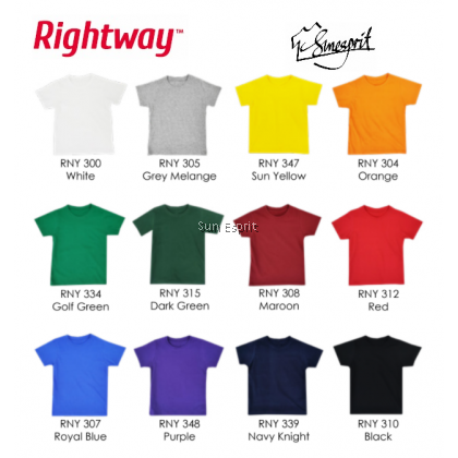 RIGHTWAY KidsUnisexCotton Soft Basic Round Neck T-Shirt RNY3 (SY/O/MR/NR)(22-32)(XS-2XL)(1/2Y-11/12Y)